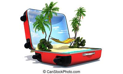 abierto, equipaje, vacaciones, concepto