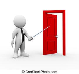 abierto, hombre de negocios, puerta, señalar, 3d