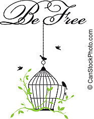 abierto, jaula, con, libre, aves
