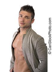 abierto, joven, confiado, chaqueta, muscular, hombre, torso...