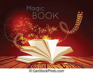 abierto, libro, con, magia, light.