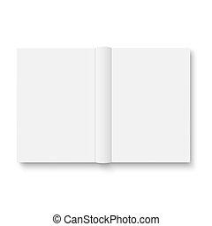 abierto, libro, shadows., blanco, suave, plantilla