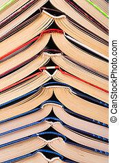 abierto, libros, primer plano