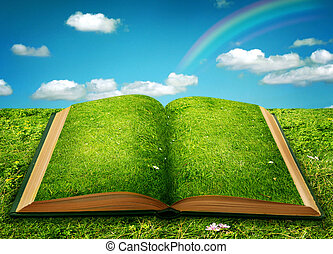 abierto, magia, libro