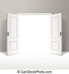 abierto, marco, vector, puerta, blanco