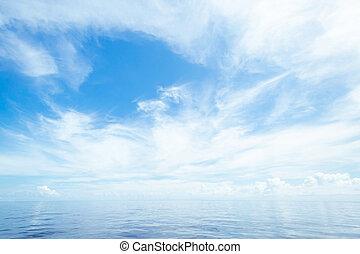 abierto, océano, y, cielo nublado