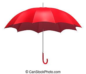 abierto, paraguas rojo