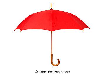 abierto, paraguas, rojo