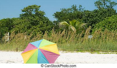 abierto, parasol, playa