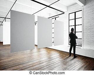 abierto, pared blanca, lona, bussiness, studio., marcos, ...
