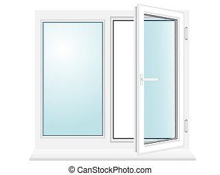 abierto, plástico, ventana de cristal, ilustración