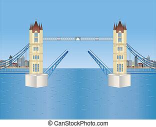 abierto, puente de torre, en, londres