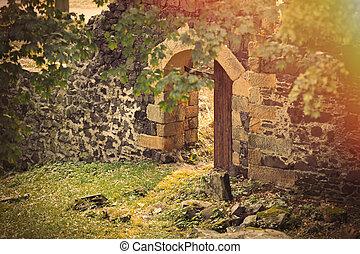 abierto, puerta, en, medieval, castillo