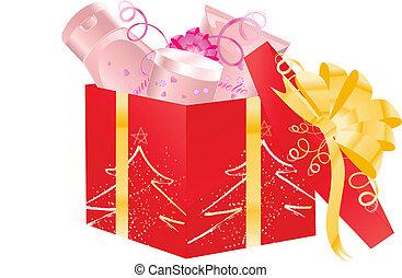 abierto, regalo de navidad, cosméticos