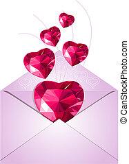 abierto, sobre, con, corazones del amor