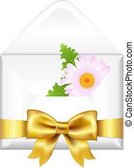 abierto, sobre, con, dorado, arco, y, flor