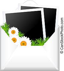 abierto, sobre, con, foto, y, flores