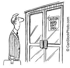 abierto, solicitantes, precaución, puertas, haga no