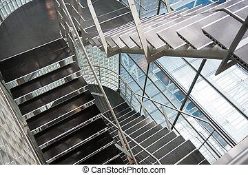 abierto, stairwell, en, un, moderno, edificio de oficinas