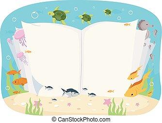 abierto, submarino, libro, animales, ilustración