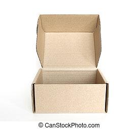 abierto, vacío, caja de cartón