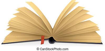 abierto, vector, libro