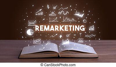 abierto, venida, inscripción, libro, empresa / negocio,...