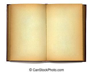 abierto, viejo, libro, blanco, plano de fondo