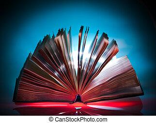 abierto, viejo, libro, místico, luz, en, plano de fondo