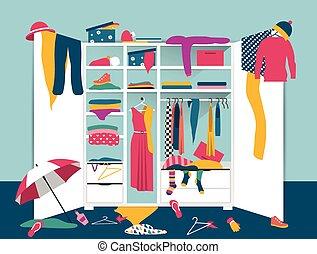 abierto, wardrobe., blanco, armario, con, desordenado, ropa, camisas, suéteres, cajas, y, shoes., hogar, lío, interior., plano, diseño