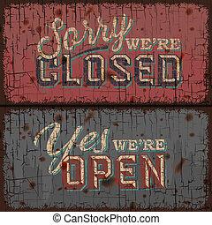 abierto, y, cerró signo, -, información, tienda al por menor