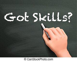 abilità, prendere, scritto, parole, mano