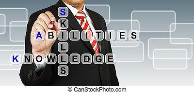 abilità, uomo affari, dicitura, conoscenza, abilità