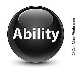 Ability glassy black round button