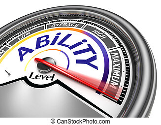 ability level conceptual meter indicate maximum, isolated on white background
