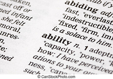 Ability - The word ability written into a thesaurus