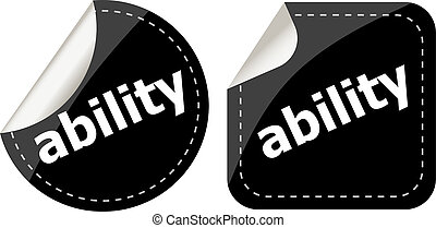 ability word black stickers set icon button