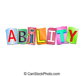 Ability word concept. - Illustration depicting a set of cut...