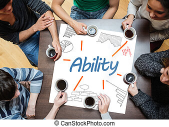 Ability written on a poster with drawings of charts during a...