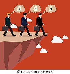 abismo, direito, passeio, businessmans