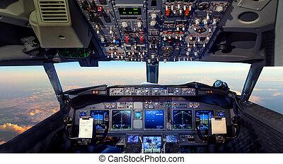abitacolo, volare, tropicale, tramonto, sopra, aeroplano