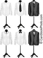 abito nero, e, camicia bianca