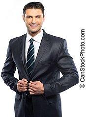 abito nero, giovane, fondo, isolato, uomo, bello, cravatta, bianco