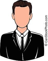 abito nero, icona, icona, cartone animato, uomo