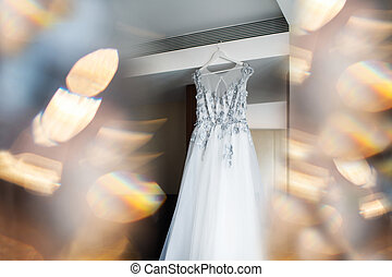 abito nunziale, appendere, parete, in, il, stanza, con, culmini