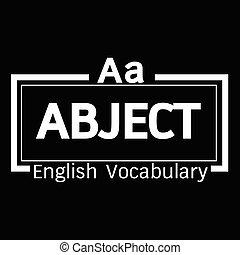 ABJECT english word vocabulary illustration design