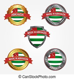abkhazia., fait, illustration, étiquette, vecteur, conception