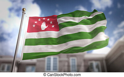 Abkhazia Flag 3D Rendering on Blue Sky Building Background