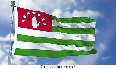 Abkhazia Flag in a Blue Sky
