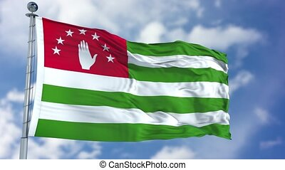 Abkhazia Flag in a Blue Sky